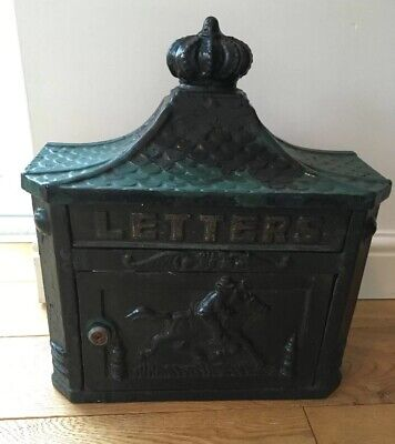 Antique Vintage Solid Cast Iron & Brass Wall Mounted Post Box Letter Box