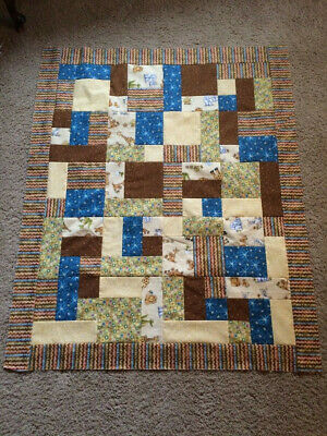 Hand made Baby Boy Quilt, TOP ONLY, Elephant, turle, giraffe, lion, stars