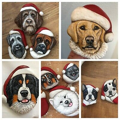 WOOD Carved CUSTOM Ornament Of Your Dog Or Cat In Santa Hat Lisa Rogers Carving
