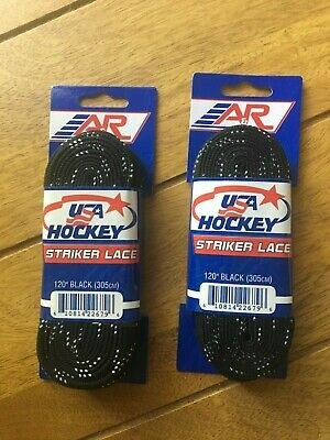 A&R Sports USA Hockey Laces - Non-Waxed Striker Laces - Black 120 Inch (2-Pack)