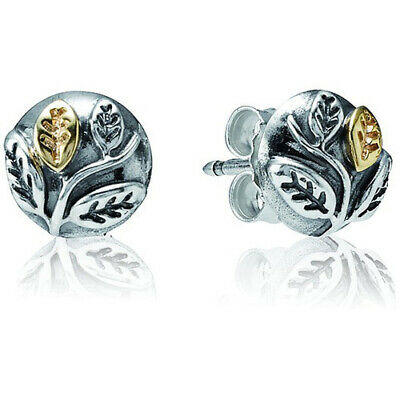 d84fe50dc Authentic Rare Pandora Sterling Silver & 14K Gold Leaf Stud Earrings 290141
