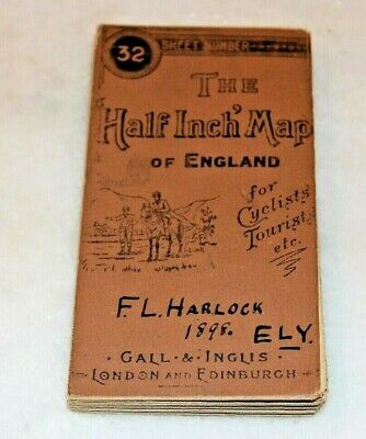 """Antique Gall &  Inglis """"The Half Inch Map"""" Of England No. 32 Nothants c1898"""
