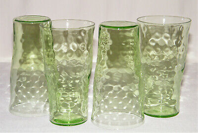 "Lovely Vintage Set (4) GREEN DEPRESSION GLASS OPTIC DOT TUMBLERS 8oz/5"" Tall"