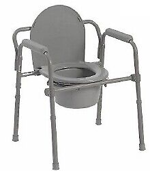"""Commode Chair Fixed Arm / Seat Lid Back 15.5 to 21.75"""" 1/EA"""
