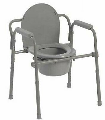 McKesson Folding Steel Frame Commode with 8 QT Bucket - 1 Each / Each - 48643301