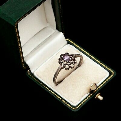 Antique Vintage Deco Mid Century Style Sterling Silver Amethyst Band Ring Sz 9.5