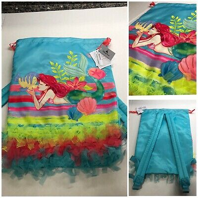 "NWT Disney Parks ""The Little Mermaid"" Ariel Cinch Drawstring Backpack Mickey"