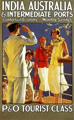 US Seller- wall art 1920s P & O Tourist Class vintage travel ads posters