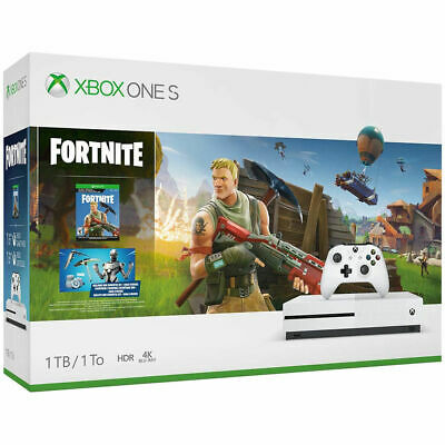 New Microsoft Xbox One S 1TB Console 4K Ultra HD Blu-ray Fortnite Bundle - White