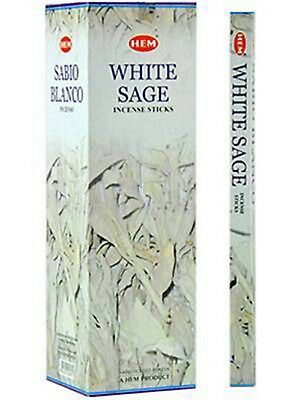 48 Incense Sticks - WHITE SAGE-HEM BRAND - 6 Sq Boxes x 8g Sticks