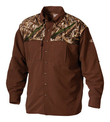 Drake  EST Wingshooter  L  Long Sleeve  Men's  Collared  Realtree Max-5 Two-Tone