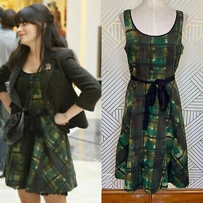 c64d1caa786b Anthropologie Maeve Painted Plaid Dress in Green Belted Tulle and Lace Size  4