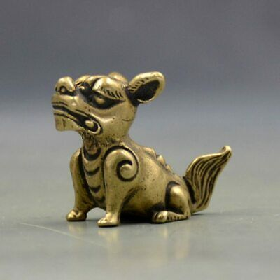 Chinese Old Pure Brass God Beast Small Pendant Collectibles L04
