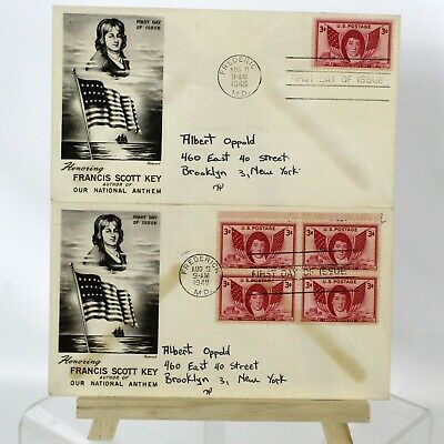 2 Francis Scott Key First Day Issue Envelopes & Stamps 1948 FDC National Anthem