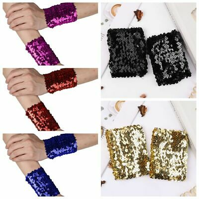Women Girl Sequins Bracelets Oversleeve Sparkle Performance Party Cuffs Costumes