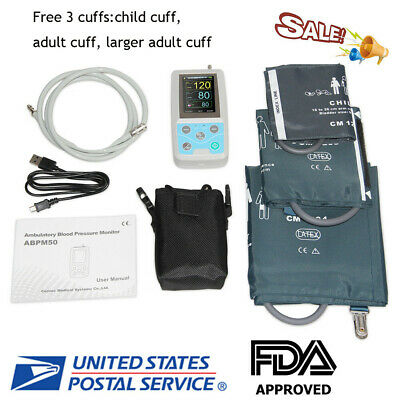 24hrs Ambulatory Blood Pressure Monitor Holter + Analysis Software+ 3 Cuff【USA】