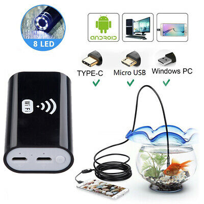5M 8LED Wireless Endoscope WiFi Smart Inspection Camera USB for iPhone Android