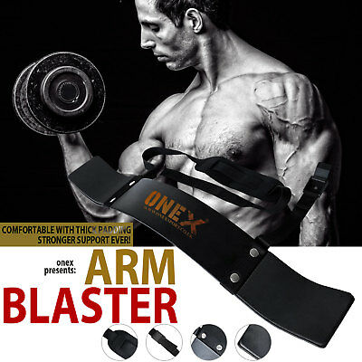 Gym Bicep Isolator Arm Blaster Bombe Barbell Bar Weight Lifting Straps Training
