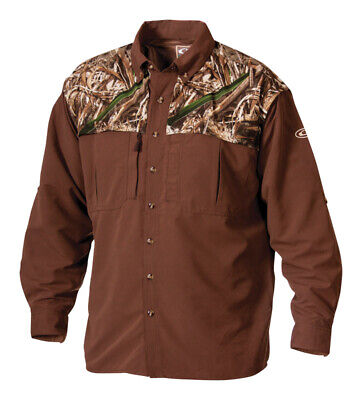 Drake  EST Wingshooter  M  Long Sleeve  Men's  Collared  Realtree Max-5 Two-Tone