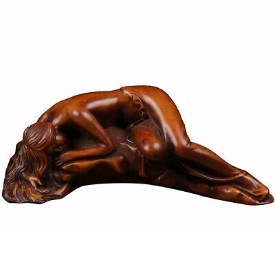 "5.04"" Boxwood Hand Carved Recumbent Lady Wood Carving Figurine Lying Down Beauty"