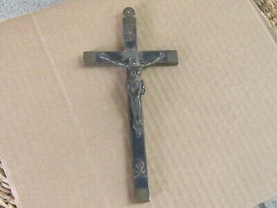 RARE ANTIQUE FRENCH Nun's CROSS/CRUCIFIX Brass /ebony scull/Bones-early 19c