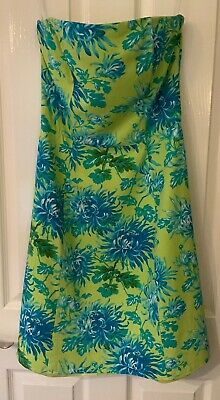 VINTAGE Strapless Boned Linen Mix Blue/ Green Dress by RONNI NICOLE by Ouida