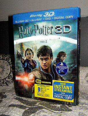 Harry Potter & the Deathly Hallows Pt 2 (3D) 4 Disc Set Blu-Ray 3d, blu-ray,DVD+