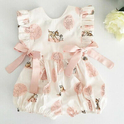 AU Cute Newborn Infant Baby Girl Sleeveless Deer Romper Clothes Cotton Outfit