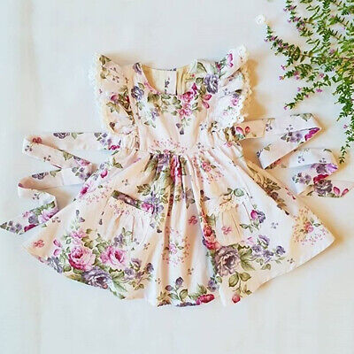 AU Summer Toddler Baby Girls Clothes Lace Floral Princess Party Dress Sundress