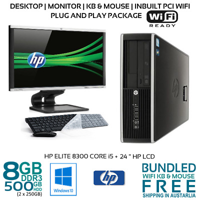 "Computer Package HP Elite 8300 Core i5-3470 8GB 500GB 22/24"" LCD Win10 KB Wifi"