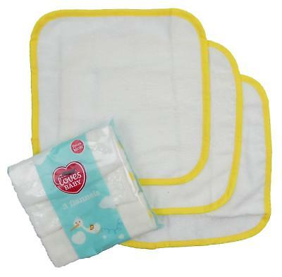 Baby Flannel Three Pack Wash Bathing Cloths Cotton Washable Wipes 25cm By 25cm