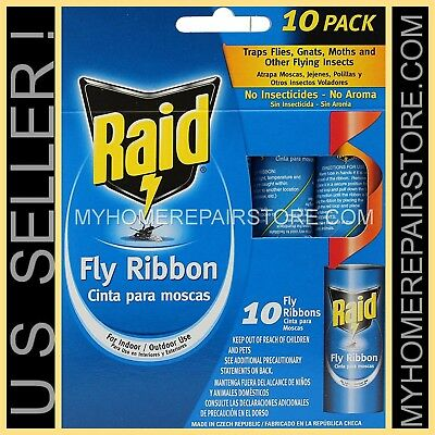 10 / 8$ — 1 Pack de 10 — Raid Fly Ruban — Insecte Volant — Colle Bande — Bug