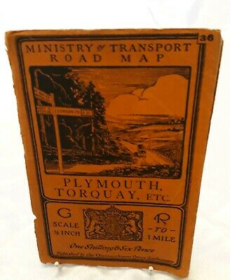 "1923 Ministry of Transport Road Map Plymouth & Torquay OS 1/2"" Contoured Devon"