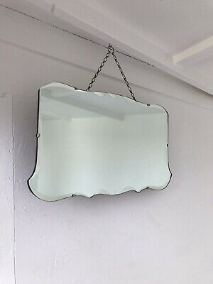Vintage Beveled Edge Frameless Cloud Mirror Lovely Rounded Art Deco