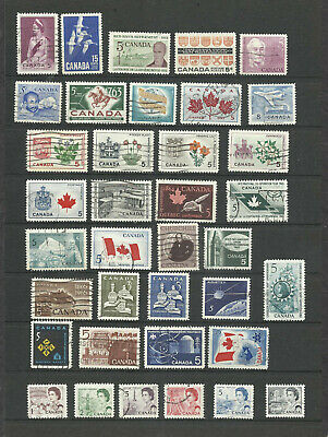 CANADA -  lot of 37 used stamps,  1962 -1967