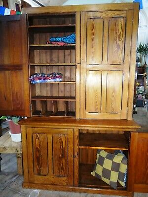Lovely Very Large Wood Wooden Pitch Pine School Cupboard Cabinet