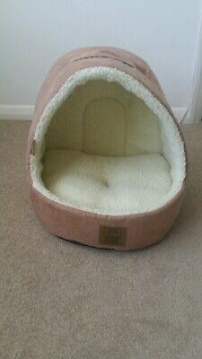 House of Paws Hooded / Suede Cat Bed in Tan