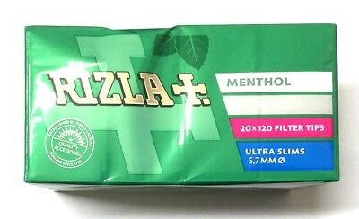 20 RIZLA MENTHOL ULTRA SLIM FILTER TIPS 5.7mm RYO CIGARETTE SEALED FULL BOX