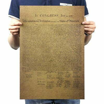 Vintage Retro Kraft Paper Poster Wall Declaration Of Independence Playbill Bar