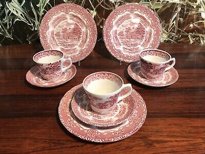 GRINDLEY  England ENGLISH COUNTRY INNS -  10 tlgs. Konvolut Kaffeeservice in rot