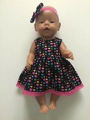 "DOLLS CLOTHES FOR 17"" BABY BORN~CABBAGE PATCH *Hot Pink Hearts~Dress~Headband*"