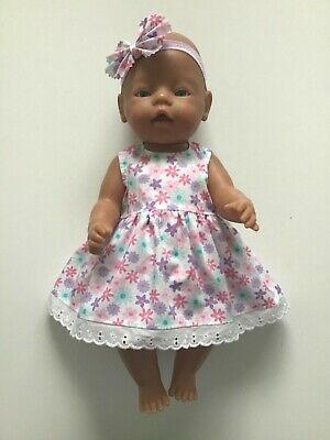 """DOLLS CLOTHES FOR 17"""" BABY BORN~CABBAGE PATCH *Mauve & Pink ~Dress~Headband*"""