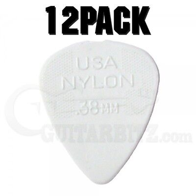 Jim Dunlop Nylon Standard Plectrum Players Pack - 12 Pack - .38 White