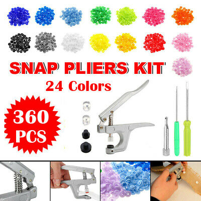 360pcs Prong Pliers Ring Press Studs Snap Popper Fasteners DIY Tool Kit UK GT