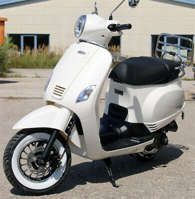 Classic 125ccm Motorroller Weiss R07 Scooter Retroroller EFI Euro 4 Duales Brems