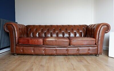 Vintage Chesterfield Sofa 3 seater brown leather sofa