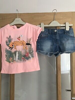 Next /zara Girls Summer Outfit 3-4 Years Top & Denim Shorts