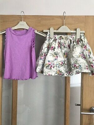 Next Girls Pretty Summer Outfit 3-4 Years Floral Skirt & Vest Top