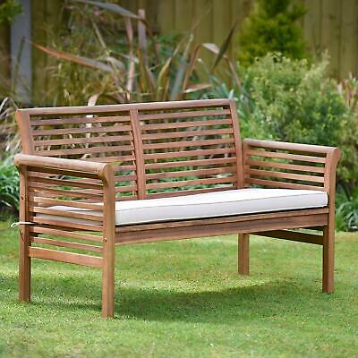 Garden Sofa Hardwood Acacia Wooden 2 Seater Bench with Cushion Plant Theatre