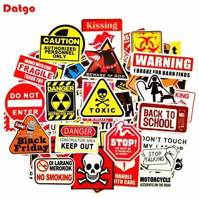 100pcs Warning Stickers Danger Banning Signs for Laptop Phone Luggage Car Stylin